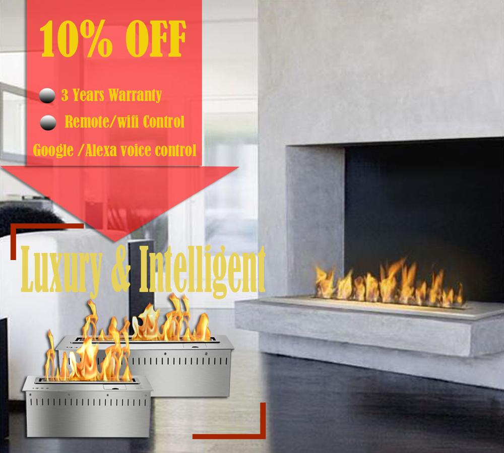 On Sale 48 Inch Stainless Steel Automatic Chimney Indoor Remote Ethanol Burner