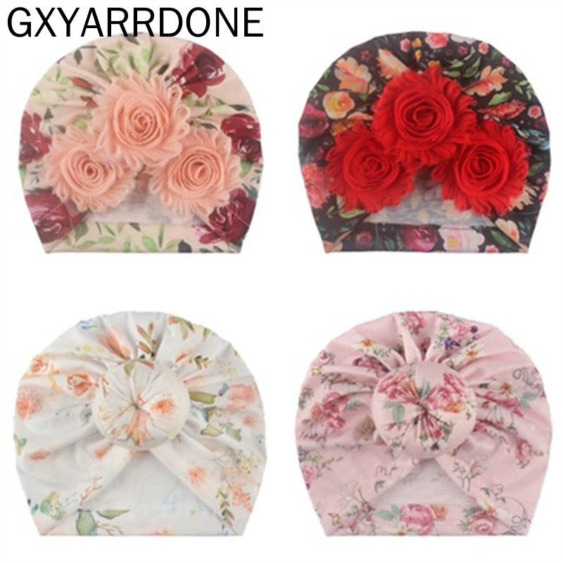 2020 Baby Beanie For Girls Floral Spring Summer Baby Girl Hat Donut Turban Hat Infant Baby Cap 7 Colors