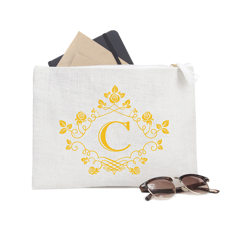 Personalized Initial C  Makeup Cosmetic Bag  Bachelorette Party Bridal Shower Gifts Wedding Clutch  Zipper Jute TB6