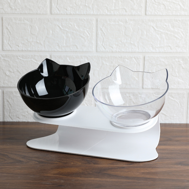Explosive Cat Double Bowl Cat Bowl Dog Bowl Transparent AS Material Non slip Food Bowl With