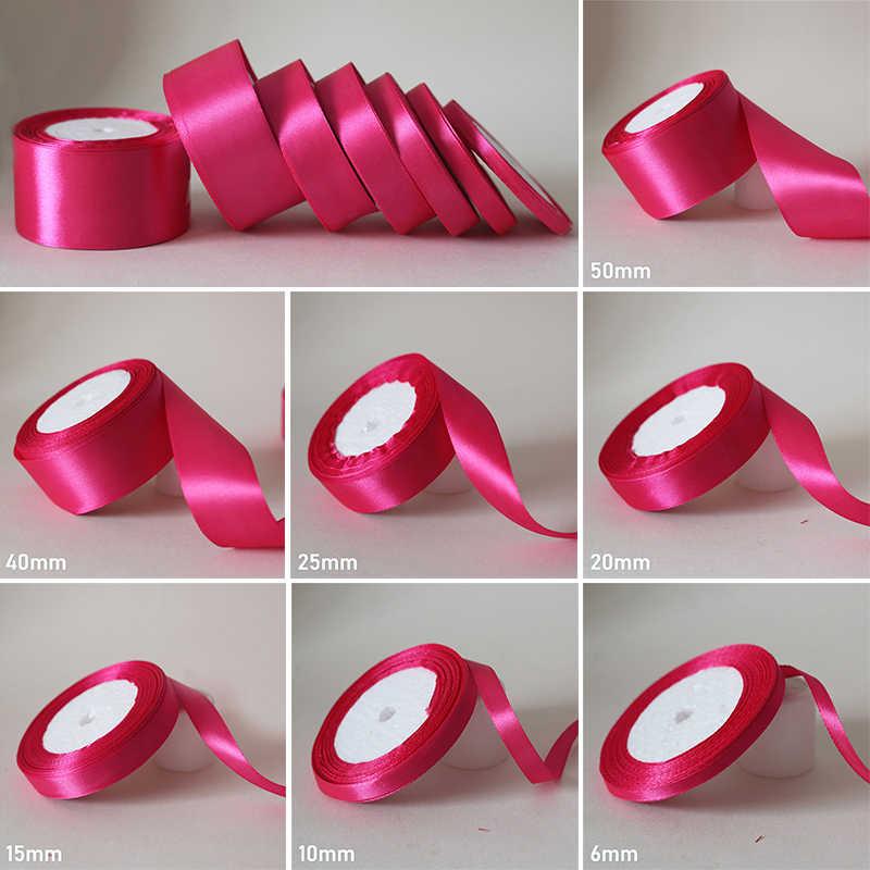 25 yardas/6mm-50mm Rosa Satén de seda rojo cinta de material para manualidades para fiesta de graduación decoración boda caja de regalo accesorios de embalaje D7