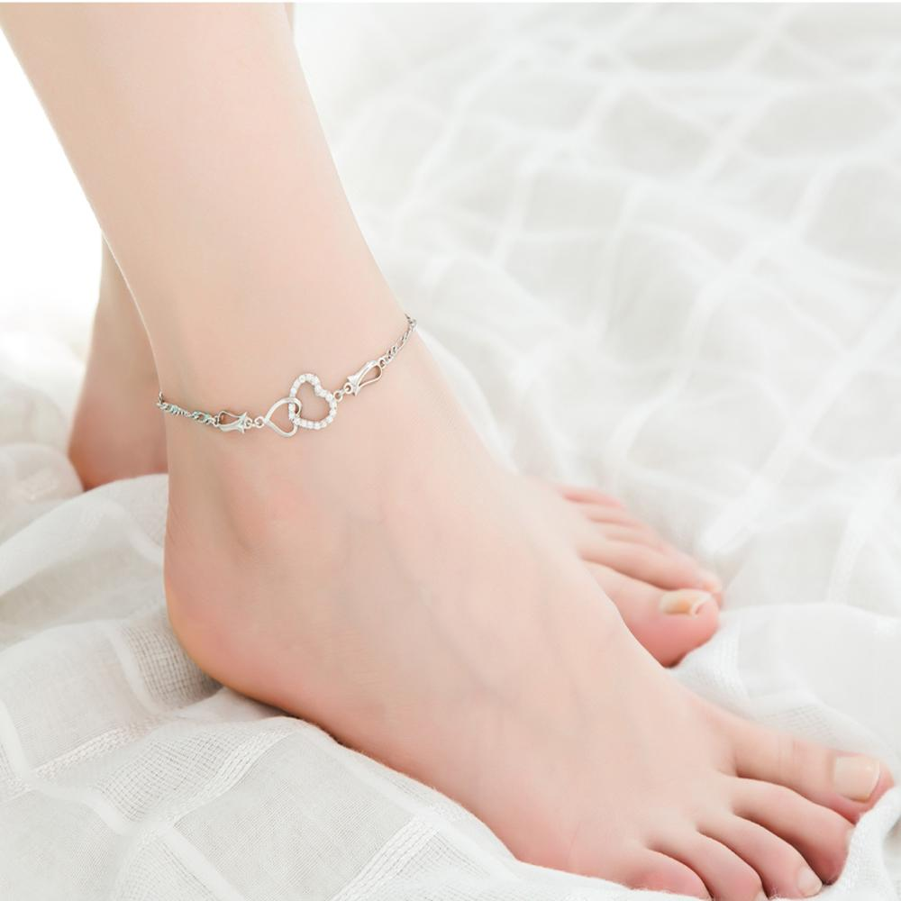 Double Heart Ankle Bracelet Silver Color Crystal Barefoot Beach Accessories Anklet Leg Chain For women jewelry Gift Wholesale