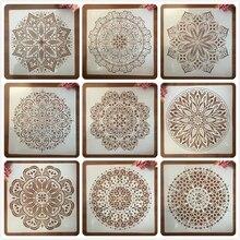 DIY Layering Stencils Wall-Painting 50--50cm Embossing-Album-Decorative-Template Mandala Geometry