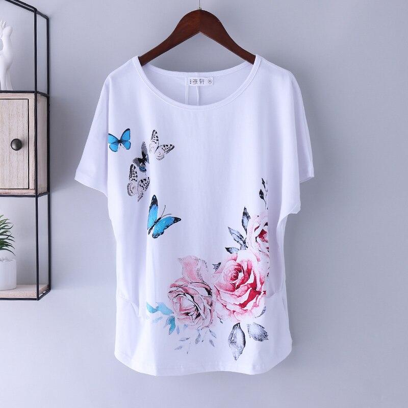 T-shirt Tops frauen Sommer Baumwolle Lose Short-Sleeve Tees Weibliche Weiß Druck T-shirt Grund Große Größe Lose Fledermaus hülse M 4XL