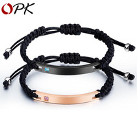 OPK men's and women's fashion bracelet titanium steel couple Bracelet personality glossy lettering Bracelet Lover Gift