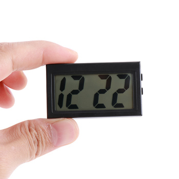 Interior Car Auto Dashboard Desk Digital Clock LCD Screen Self-Adhesive Bracket Car Clock Plastic Mini Time Clock With Battery onewell high quality 3in1 digital lcd clock screen car auto vehicle time clock thermometer voltage two color luminous