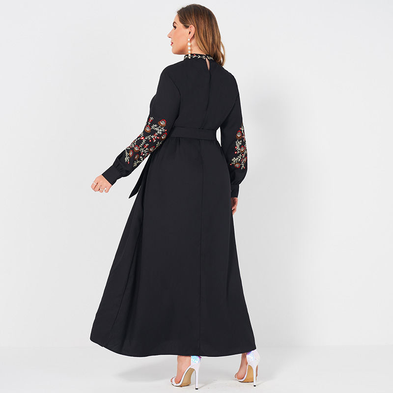 Ladies Fashion Resort Style Small Stand Collar Floral Embroidery Long Loose Belt Large Plus Size Sweet Woman Black Lady Dress Women Women's Abaya Women's Clothings