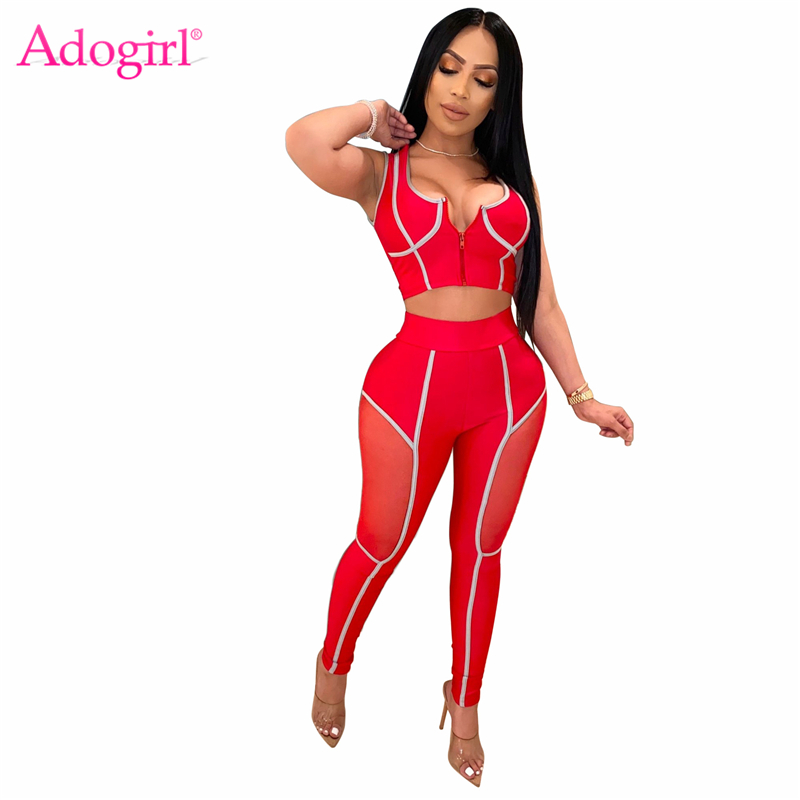 Adogirl Sheer Mesh Patchwork Women Tracksuit Zipper Bra Top Leggings Pants Sexy Casual Two Piece Set Gym Fitness Workout Outfits