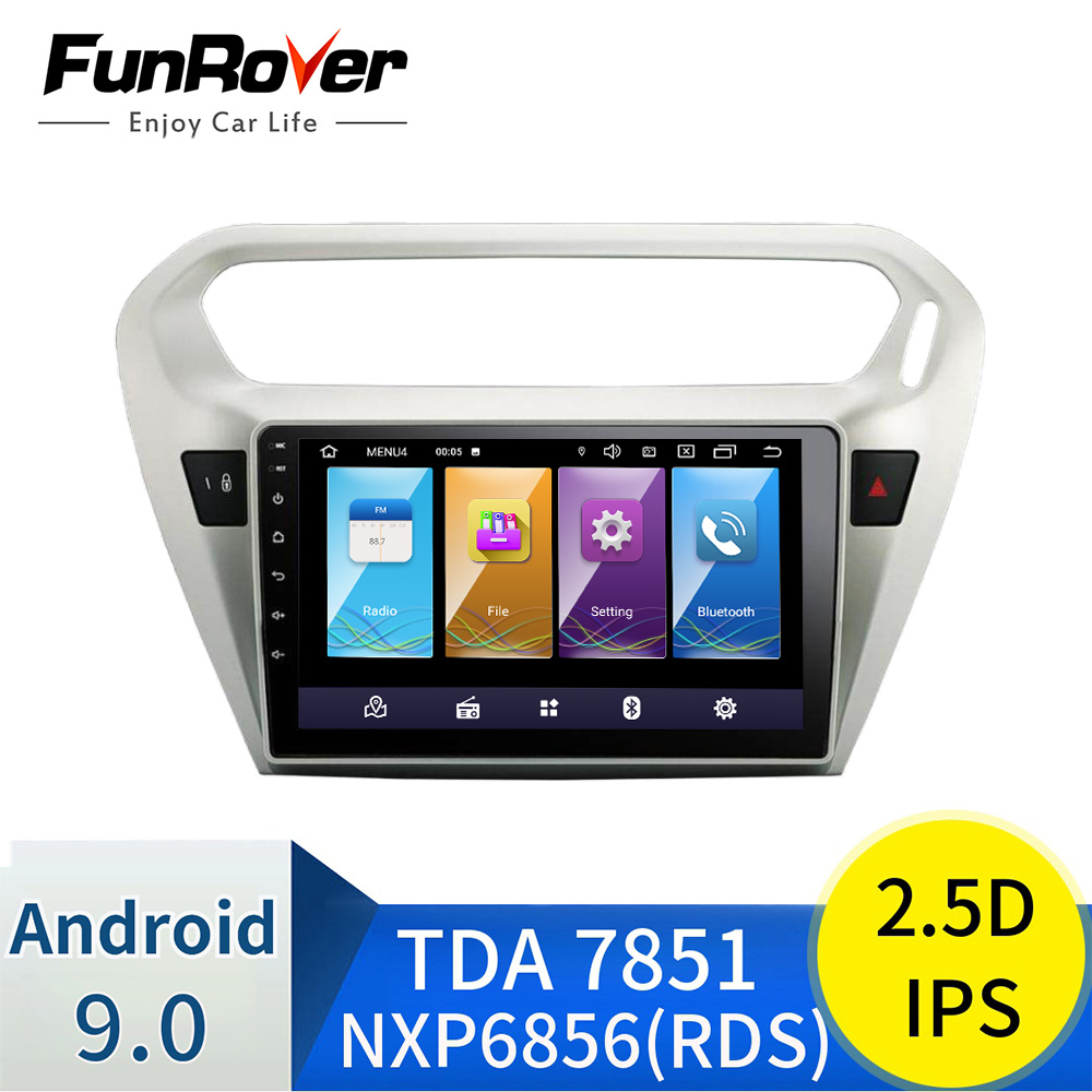 Funrover 2.5D+IPS android 9.0 car radio multimedia <font><b>gps</b></font> <font><b>For</b></font> <font><b>Peugeot</b></font> <font><b>301</b></font> Citroen Elysee 2014 2015 2016 car dvd player navigation image