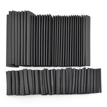 цена на 127pcs/lot 2:1 Heat Shrink Tube 7.28m Black Insulation Tube Car Cable Sleeving Assorted Wrap Wire Kit Electric Polyolefin Tubing