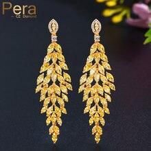 Pera Brillant jaune topaze africaine couleur or longue pendaison feuille goutte femmes fête boucles d'oreilles pour mariée mariage bal bijoux E662