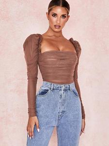 Sexy Bodysuit Overalls Mesh Women Tops Long-Sleeve Julissa Mo Black Ladies New Autumn