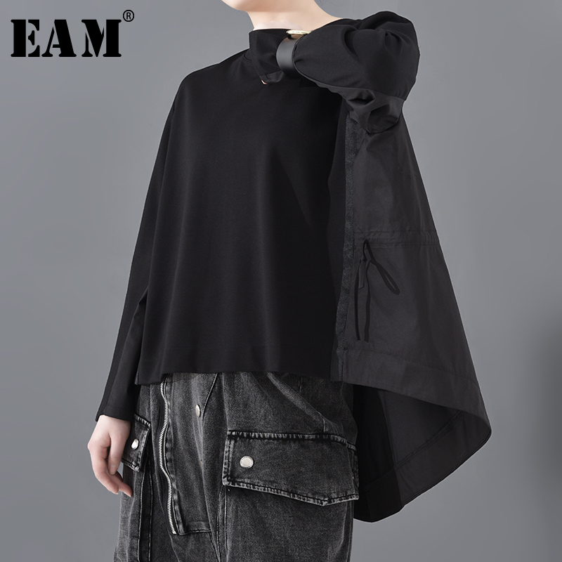 [EAM] Women Black Back Long Pleated Big Size T-shirt New Round Neck Long Sleeve  Fashion Tide Spring Autumn 2020 JT15301