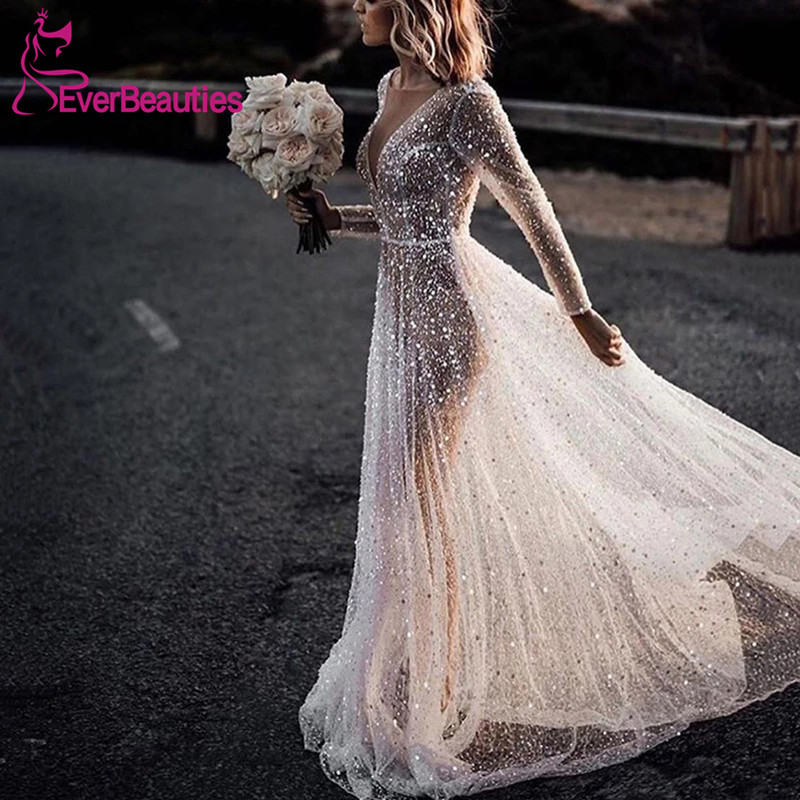 Women's Elegant Wedding Dress See-Through Hot Drilling Bride Dresses Long Sleeves Vestido De Noiva 2019