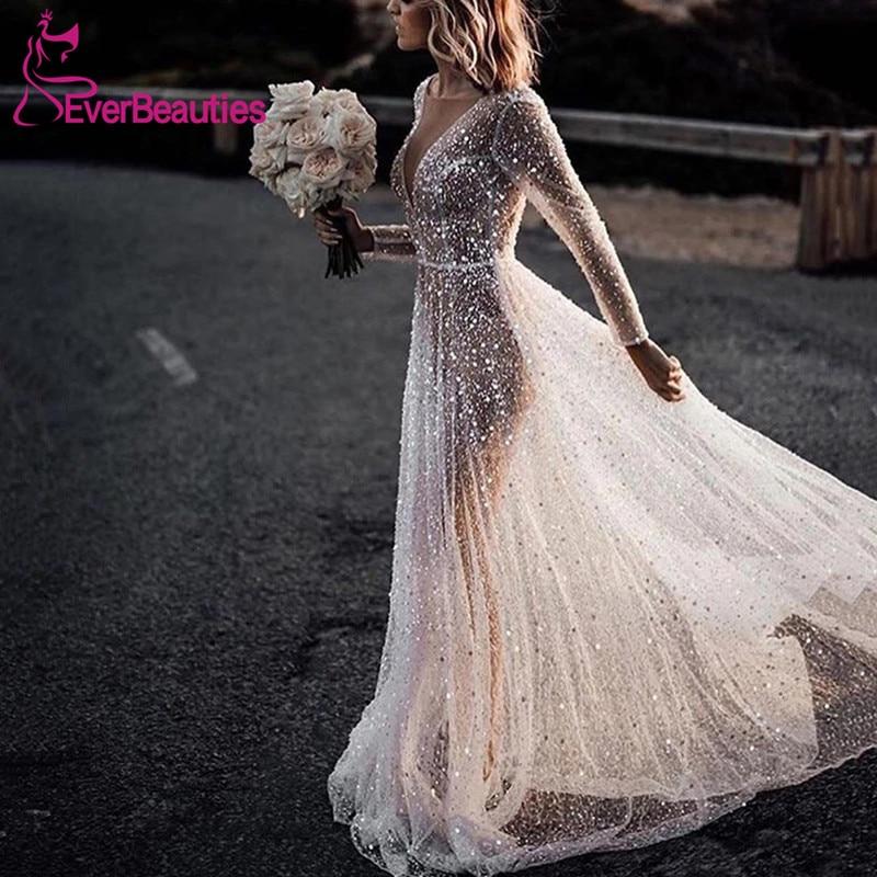 Women's Elegant Wedding Dress See-Through Hot Drilling Bride Dresses Long Sleeves Vestido De Noiva 2020