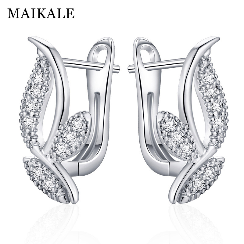 MAIKALE Classic Stud Earrings Leaf Shape Plated Gold Silver Color AAA Cubic Zirconia Simple Korean Earrings For Women To Friend
