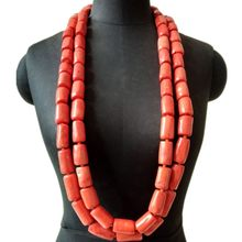 4UJewelry 13-14mm Nigerian Mens Coral necklace 2 layers Orange Bridal Jewelry Set Wedding For Groom Traditional Tribal Jewellery Set 2019 Luxury(China)