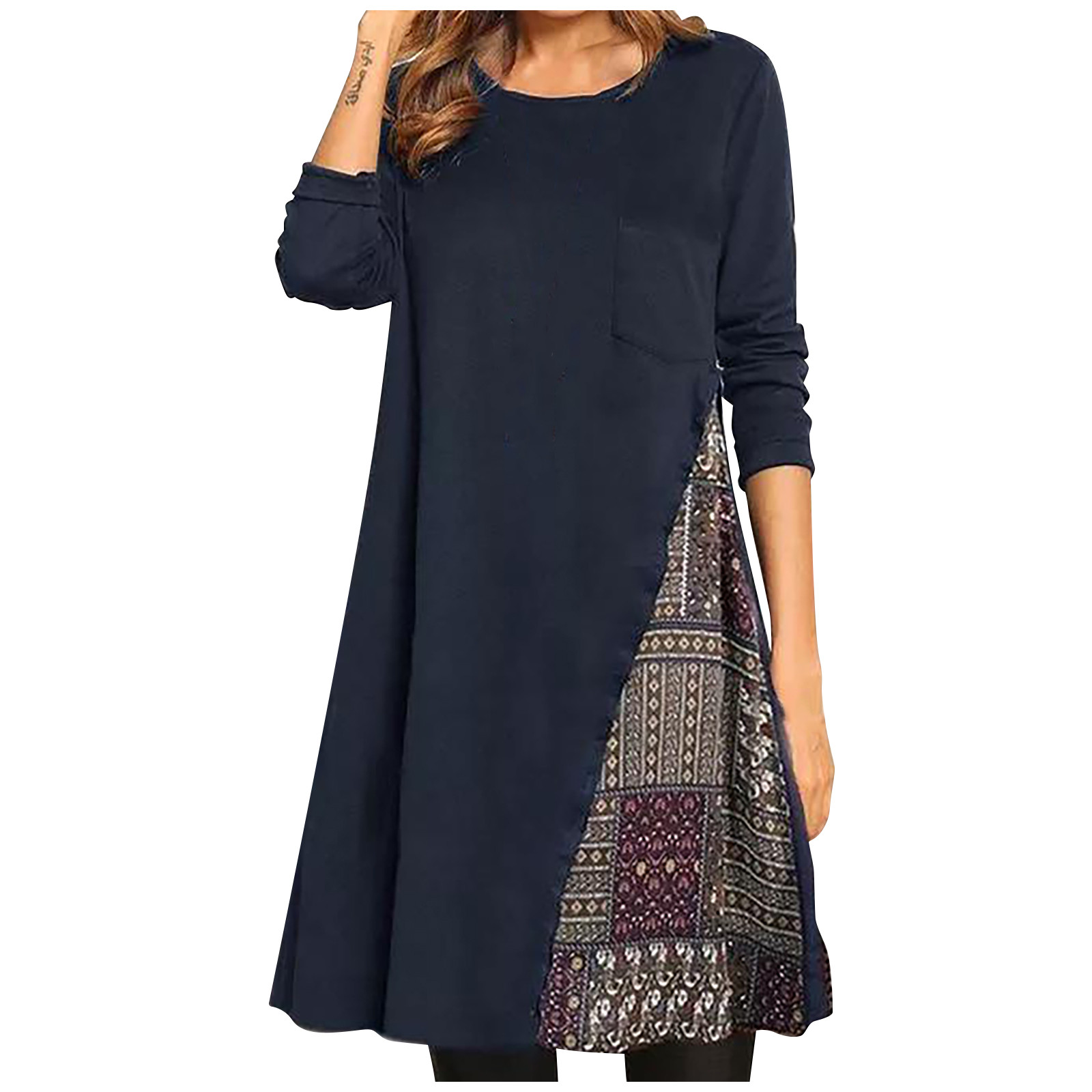 vestido de mujer Women Boho Print Color Block Shirt Round Neckline Shift Long Sleeve Pocket Dress femme robe платье 2021