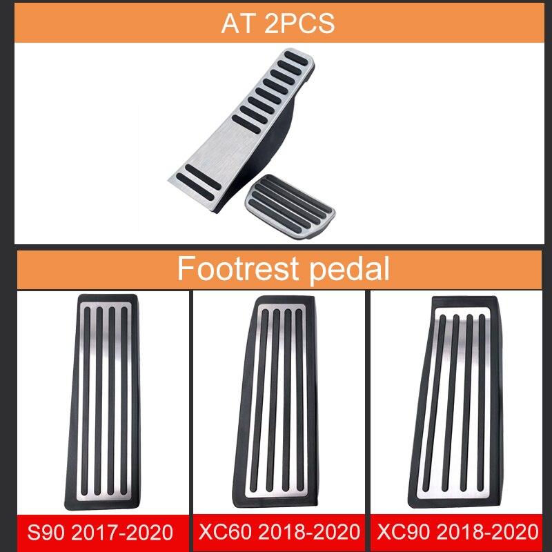 Size : AT 2pcs Automotriz Pedales For Pedal XC60-V90 acero inoxidable coche Acelerador de combustible freno de pie Resto Pedales Accesorios cubierta