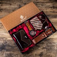 6 ピース/セット男性のギフトセット美しくパッケージ腕時計 + メガネベルト財布クリエイティブファッション男性クォーツ時計男性用時計時間