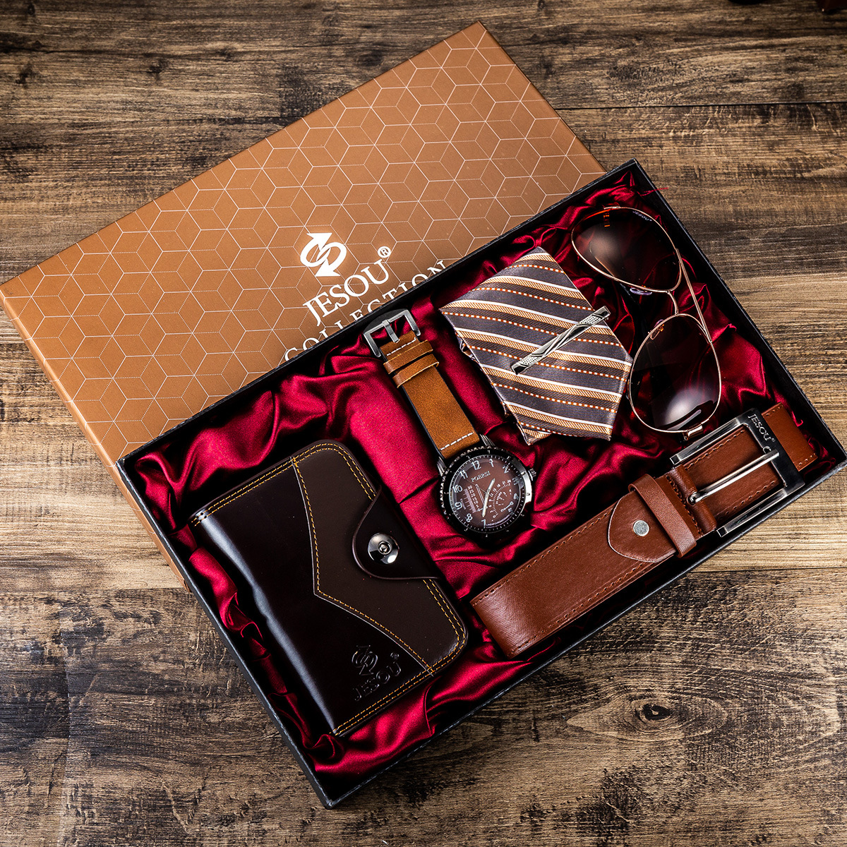 6pcs/set Men's Gift Set Beautifully Packaged Watches+glasses Belt Wallet Creative Fashion Male Quartz Watch For Men Clock Hours