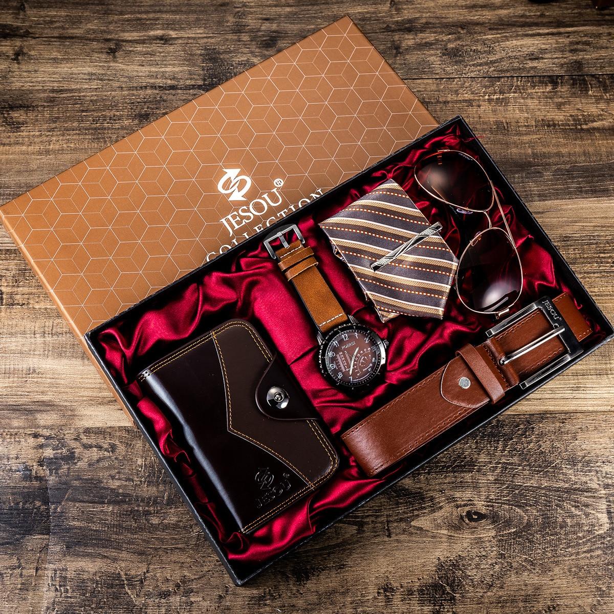Ensemble cadeau pour hommes, 6 pièces, joliment emballé, montres + lunettes, ceinture, portefeuille, montre à Quartz masculine créative à la mode, horloge | AliExpress