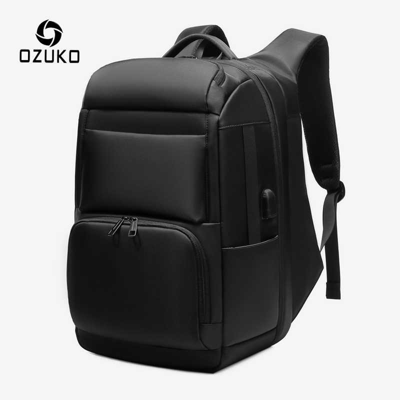OZUKO Men 17 inch Laptop Backpack Large Capacity USB Charging Backpacks Male Anti Theft Travel Bag Business Waterproof mochila