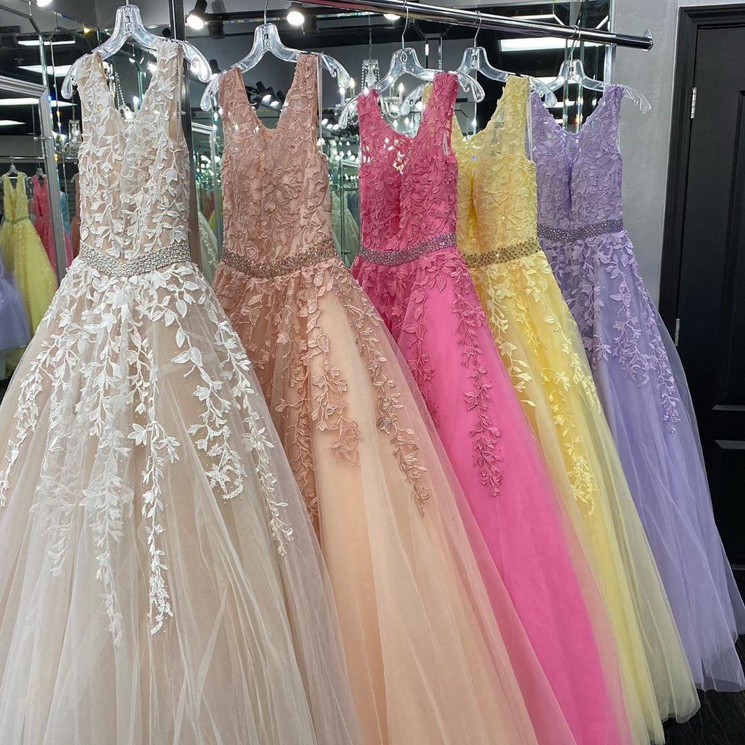 Candy Color Prom Dress 2020 Ballgown Ivory Blush Pink Fuchsia Yellow Lavender Long Quinceanera Gowns Lace Up Back