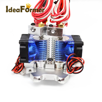 E3D V6 Hot End Dual Head Extruder with 0.4mm Brass Nozzle+12/24V Cooling Fan+effector For 3D Printer Parts 1.75mm Filament 3d printer parts cyclops 2 in 1 out 2 colors hotend 0 4 1 75mm 12v 24v fan bowden with titan bulldog extruder multi color nozzle