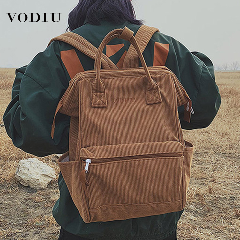 Women's Bags Corduroy Backpacks For Women 2019 Fashion Winter Large Capacity Ladies Schoolbag For Teenager Girls School Backpack