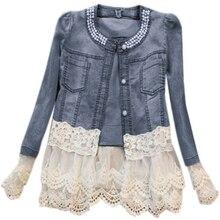 Women Lady Blue Denim Jacket Lace Splicing Long Sleeve Outwe
