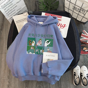 Image 4 - Hoodies Frauen Mit Kapuze Dicker Samt Winter Warme Studenten Pullover Langarm Sweatshirts Harajuku Frauen Streetwear Oversize