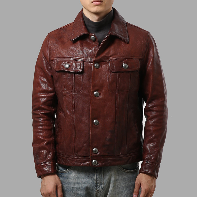 AL-1905 Read Description! Asian Size Good Goat Leather Jacket Genuine Goat Leather Jacket