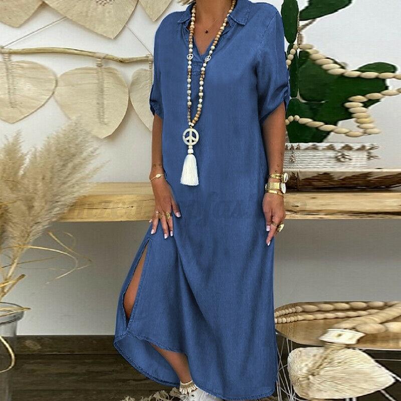 Summer Denim Dress For Women 2021 Casual Spring Blue  V-Neck Half Sleeve Maxi Dresses Plus Size Split Long Dresses Vestidos 5XL 7