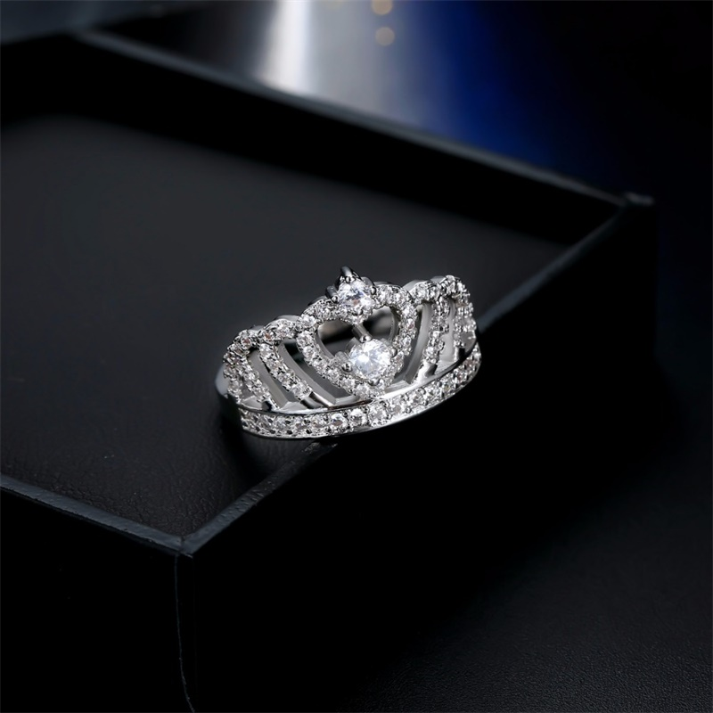 Fashion Silver Rings - Crystal Heart Rings - Women's Crown Zircon Ring