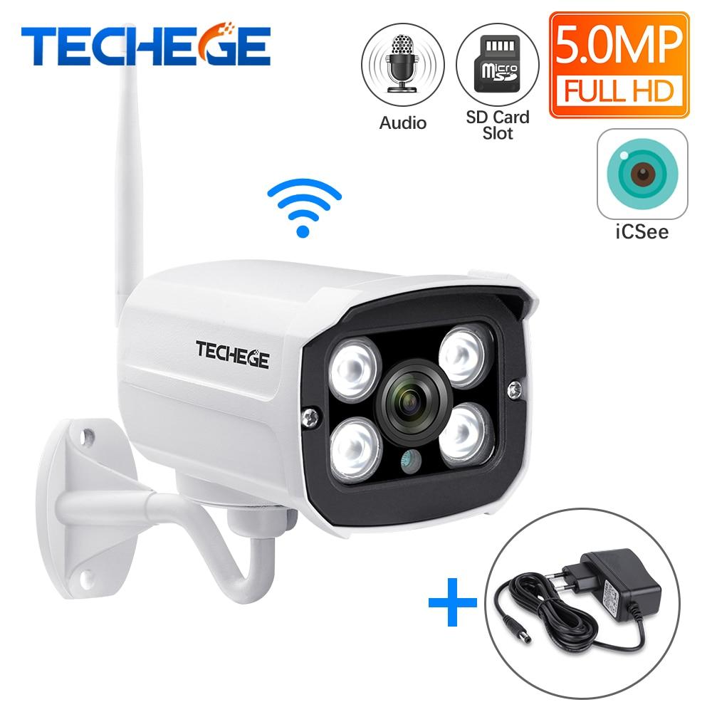 Techege Super HD 5.0MP Wired Wifi Camera Waterproof Night Vision Wireless Camera Motion Detection SD Card Slot Onvif Camera