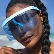Fashion Oversized Shield Visor Sunglasses Women 2020 Flat To