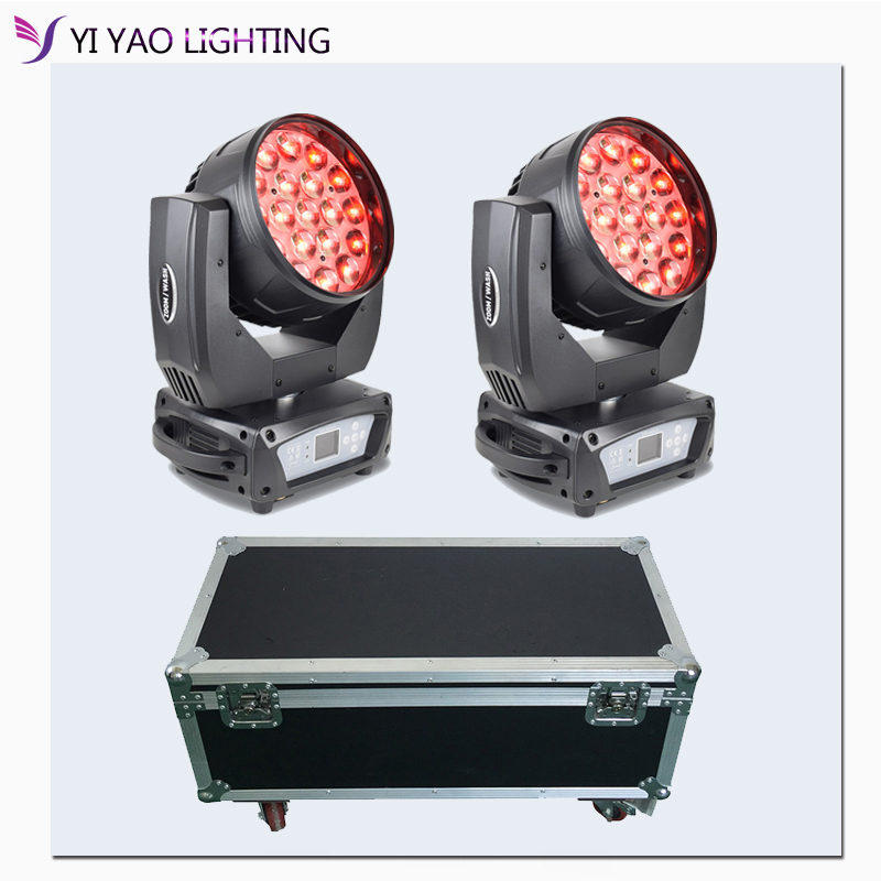 Led Zoom Moving Head Light 19x15W RGBW 4IN1 Moving Stage Wash Lights Bees-eyes Beam Effect For Dj Club Lighting With Fly Case