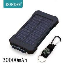 Для XIAOMI power bank 30000 mah портативное солнечное зарядное устройство 30000mAh внешний аккумулятор с двумя портами зарядное устройство для мобильного устройства