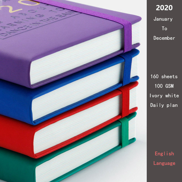 New Fashion Agenda 2020 Thicken notebook A5 Leather softcover Planner 2020 Jan-Dec Timeline Efficiency journal English language 1