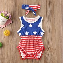 New Summer Infant Star Stripe Patchwork Romper Set Newborn Baby Boys Girls Rompers Suit Sleeveless Bodysuit+Bowknot Headband(China)