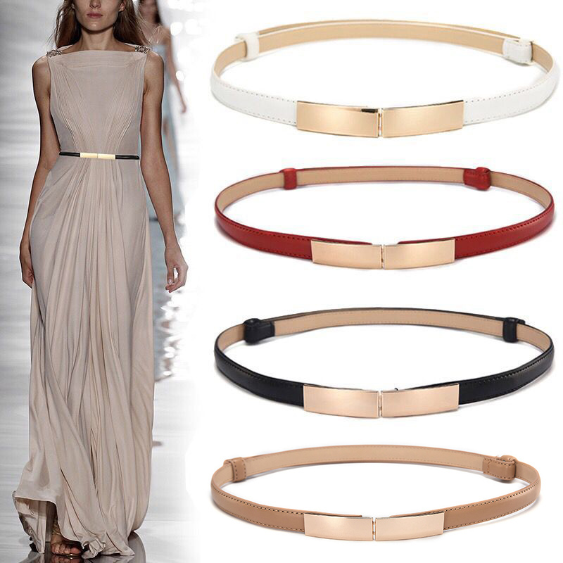 Belt Dress Simple Versatile  Fashion Women Leather Belt Thin Skinny Metal Gold Elastic Buckle Waistband Belt Dress Accessories