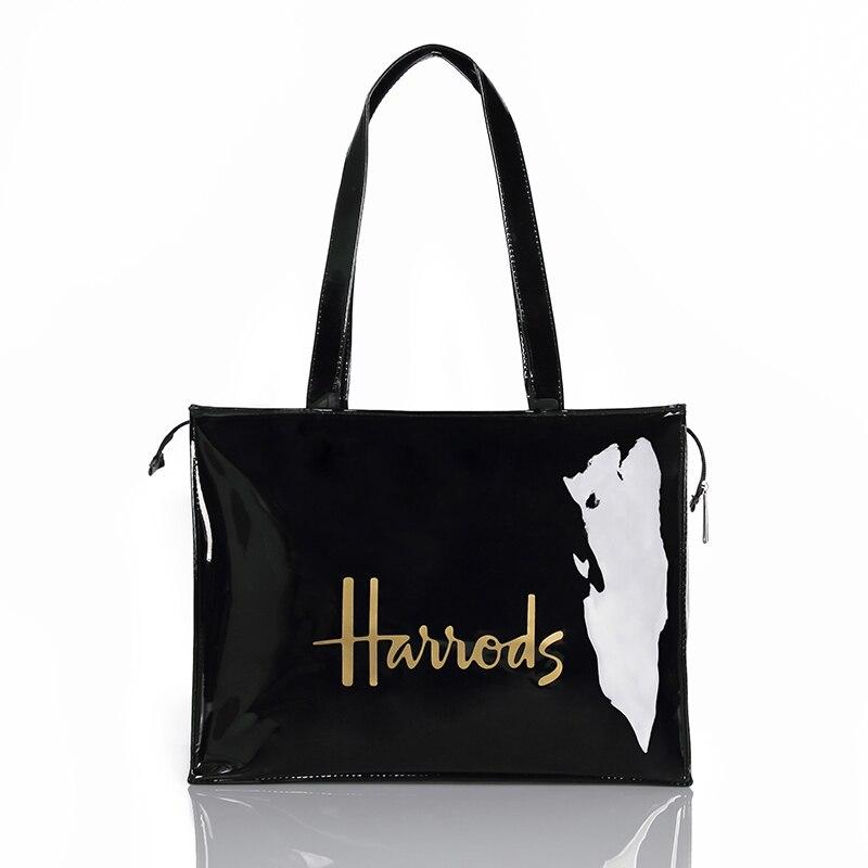 Horizontal Edition Eco Friendly Tote Shopping Bag Women Reusable Waterproof PVC Shoulder Bag Large Capacity London Style Handbag