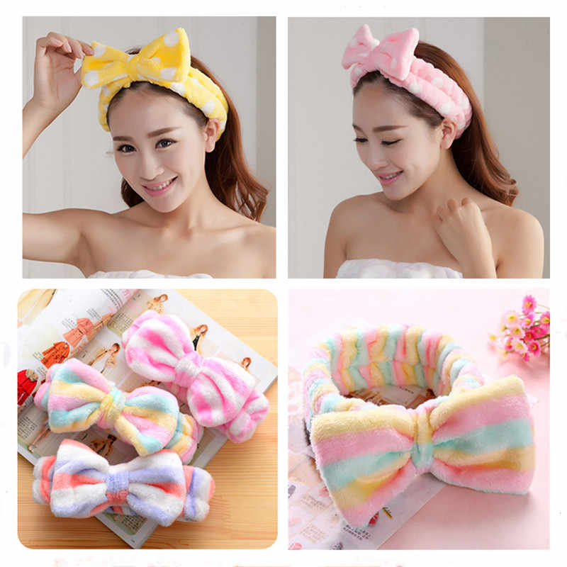 Big Rabbit Cat Ear Coral Fleece Elastic Hair Ribbon Bath Shower Make Up Wash Face Cosmetic Headband For Women Hair Band Headwear