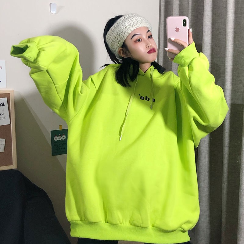 NiceMix Oversize Hoodie Women's Loose-Fit Korean-style INS Fashion BF Laziness-Style Brushed And Thick Mschf Tops Vetiver