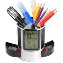 Прочный офисный, школьный, для хранения, офисный, ЖК-дисплей, будильник, время, температура, дисплей, полый цилиндр, ручка, настольный держатель для карандашей, Органайзер