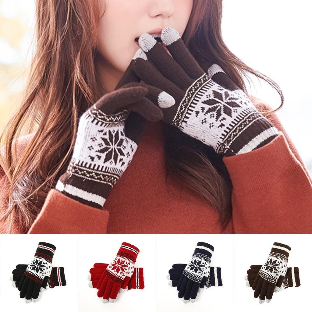 New Winter Female Warm Unisex Winter Wool Plus Velvet Thickening Couple Warm Riding Gloves Wrist Touch Screen Driving Gloves#11