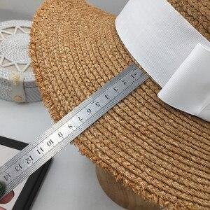 Image 5 - ファッションボンネット気質ラフィアバイザービーチ休暇わら帽子 M 標準女性の優雅な弓フラットキャップ太陽の帽子