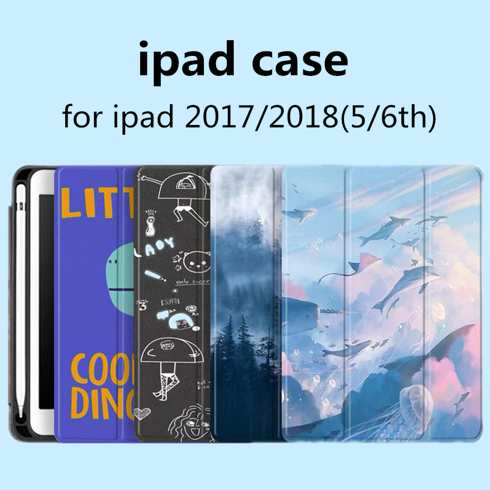 IPad 2017 iPad Case 5 Case 2018 9.7 Soft Silicone Back Cover,Pen slot PU Leather Smart Cover for iPad 2018 6th Generation Case