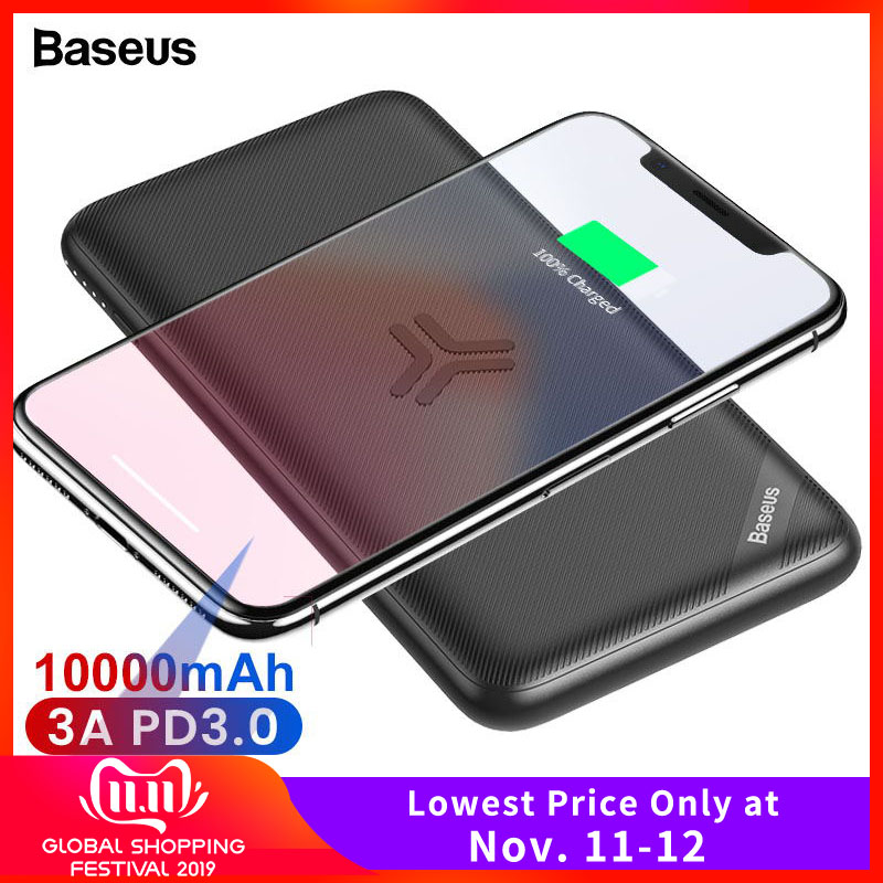 Baseus 10000mAh Qi Wireless Charger Power Bank Quick Charge 3.0 PD Powerbank For IPhone Xiaomi Portable External Battery Charger